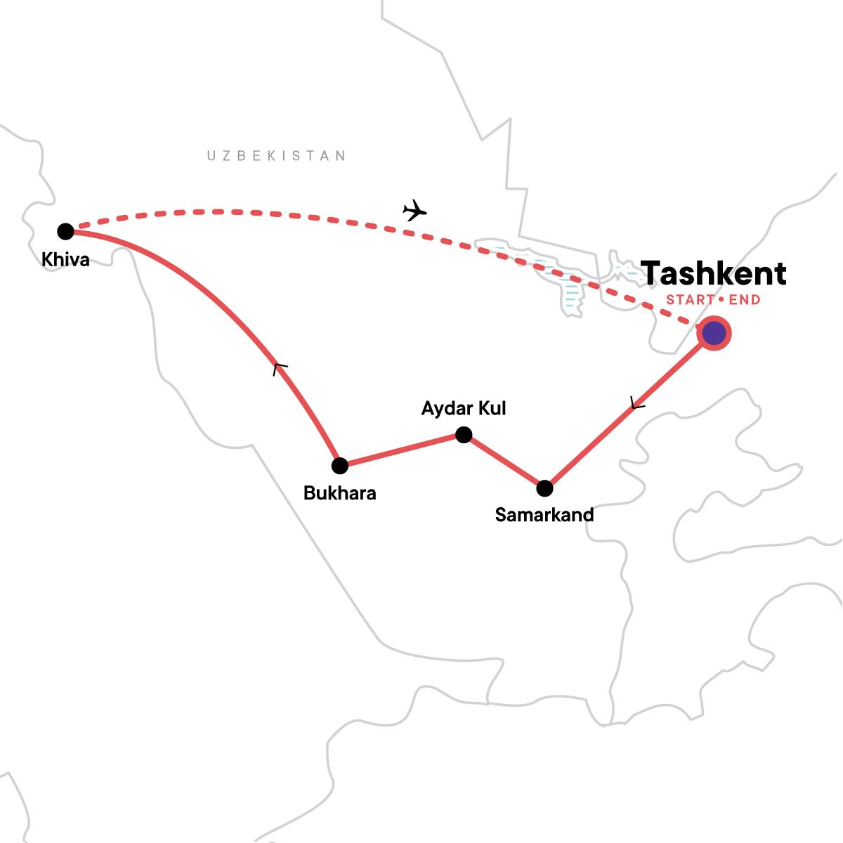 Map - Highlights of Uzbekistan