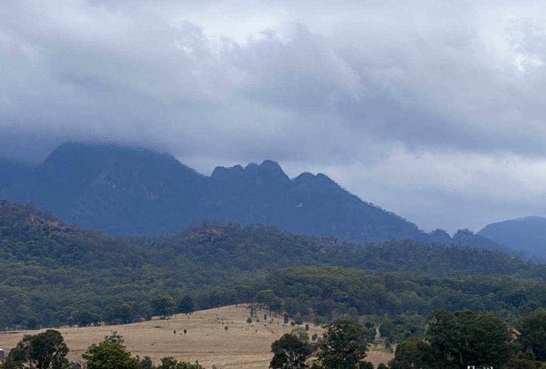 Mount Barney through the clouds