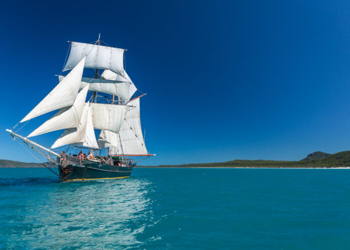 Tall ship with sails up